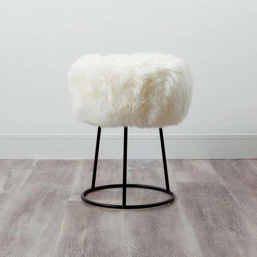 Sheepskin metal stools