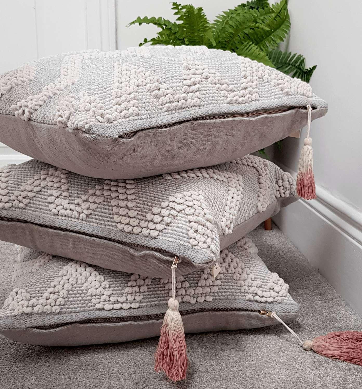 Grey and white Nordic/Scandi style cotton cushion