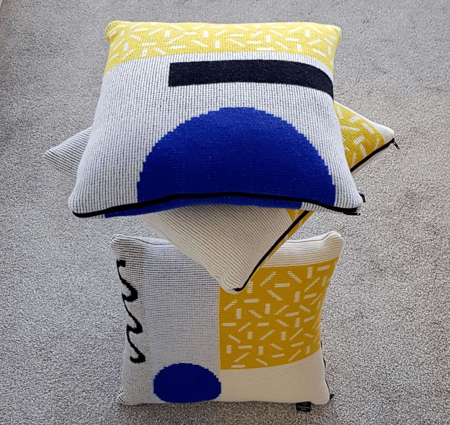 Lambswool cushion - yellow and blue design