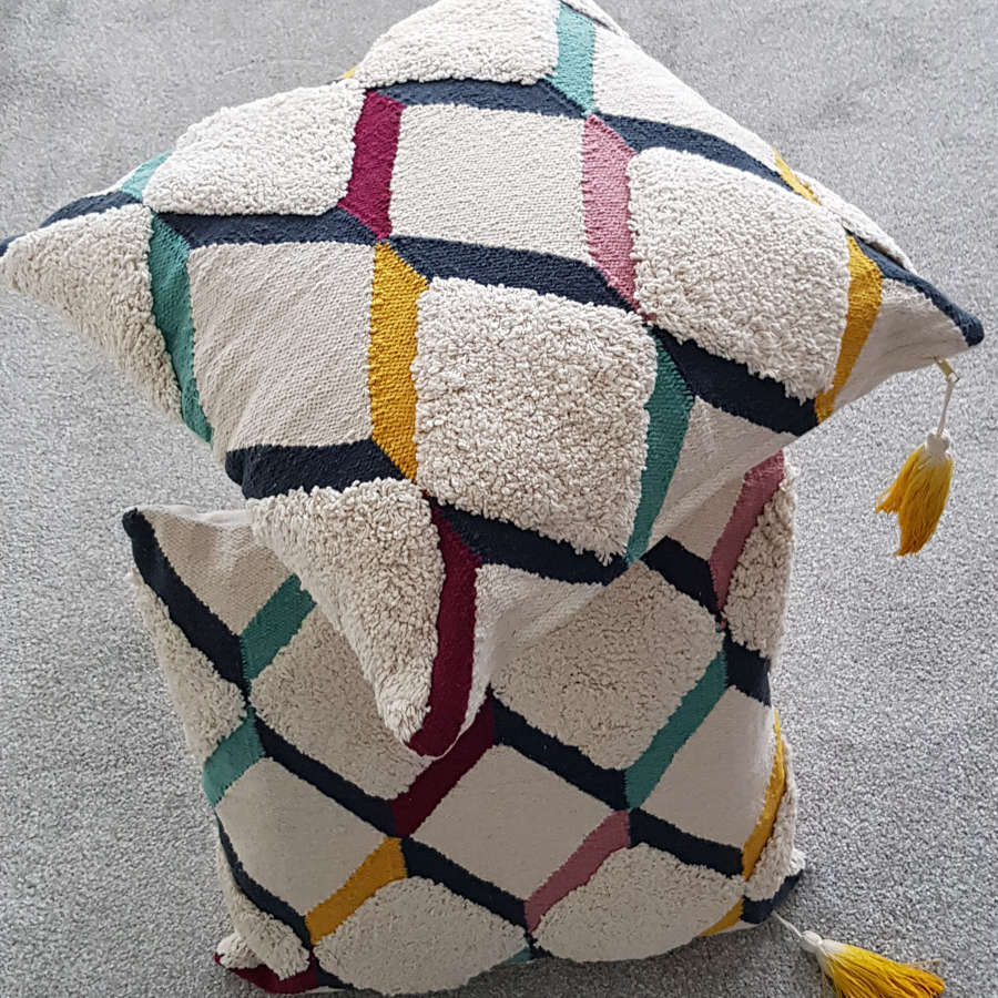 Multicolour Nordic/Scandi style cotton cushion