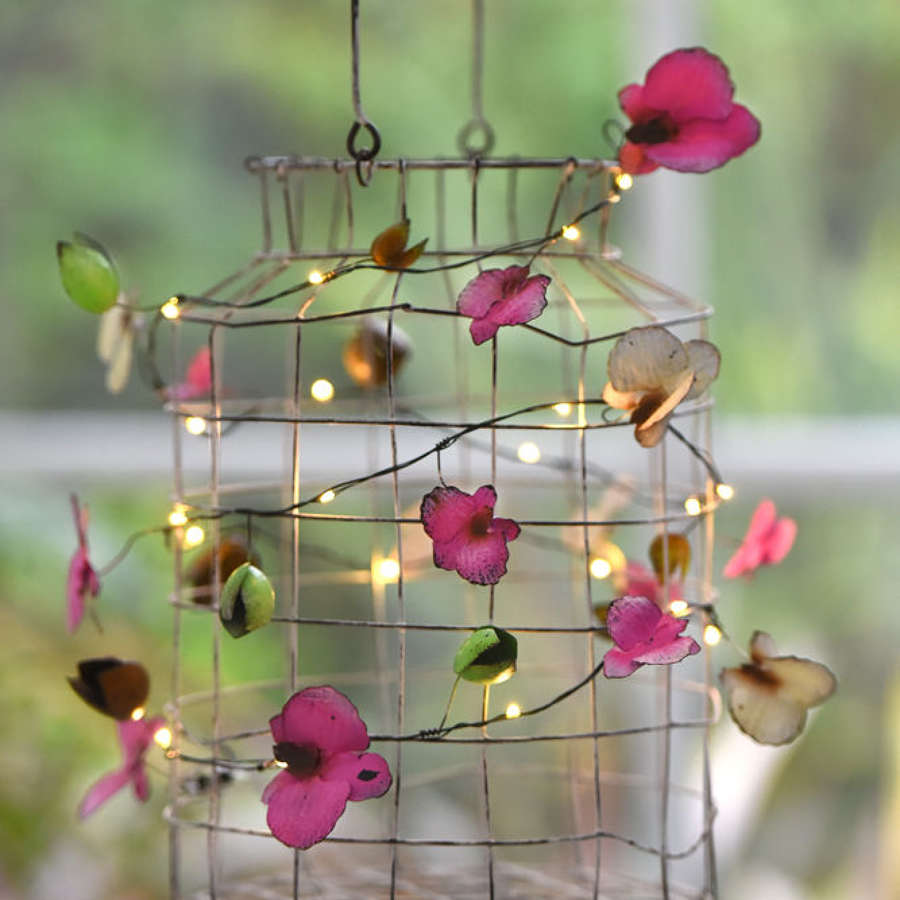 Orchid floral metal light string - battery powered