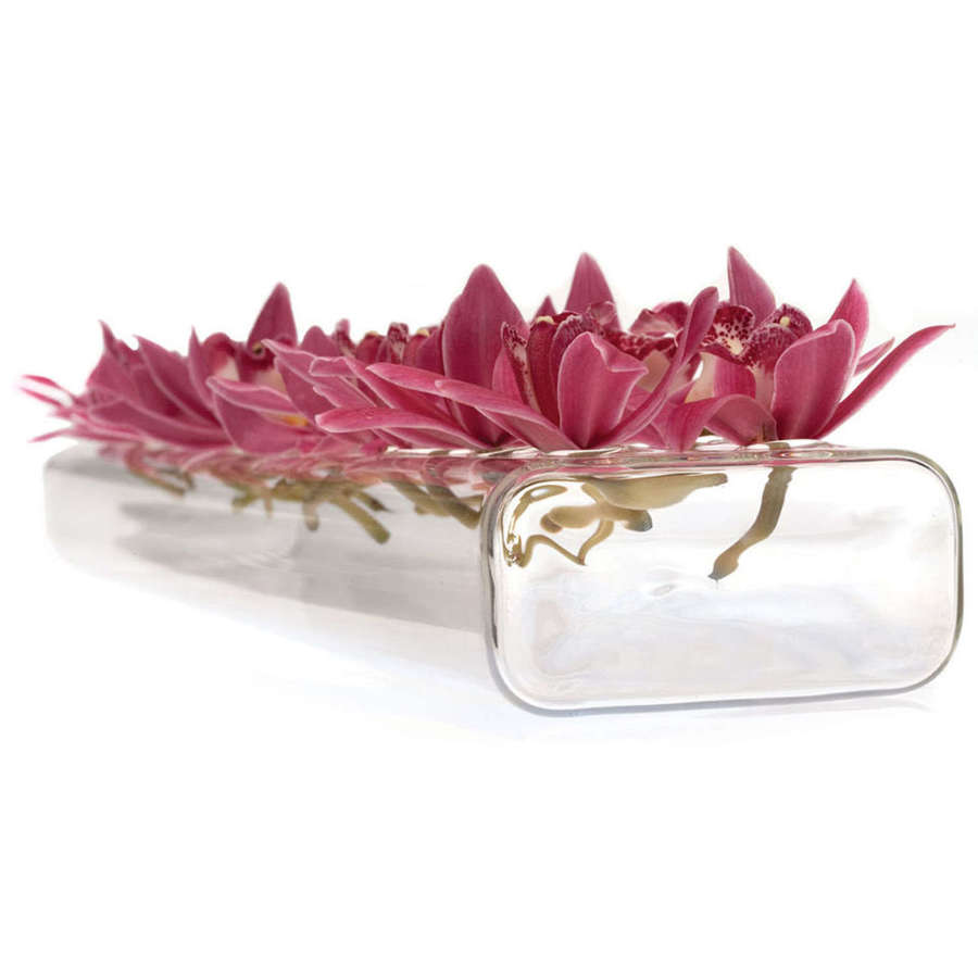 Rectangular glass vase with 24 holes