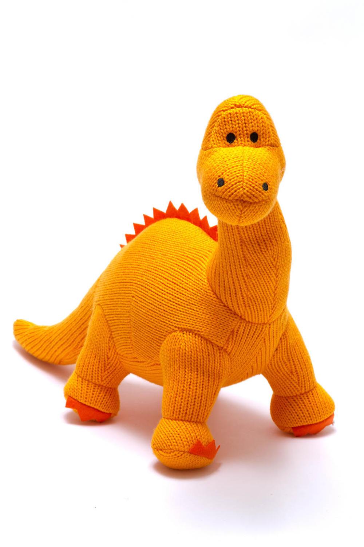 Large orange knitted diplodocus dinosaur soft toy