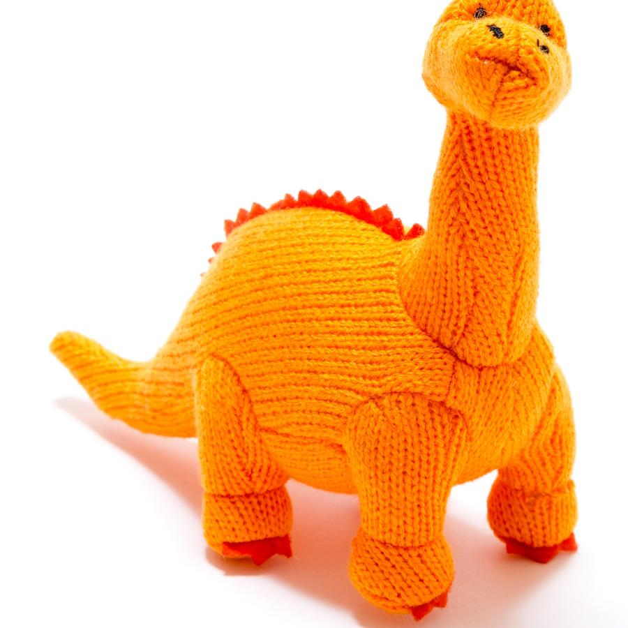 Medium orange knitted diplodocus dinosaur soft toy