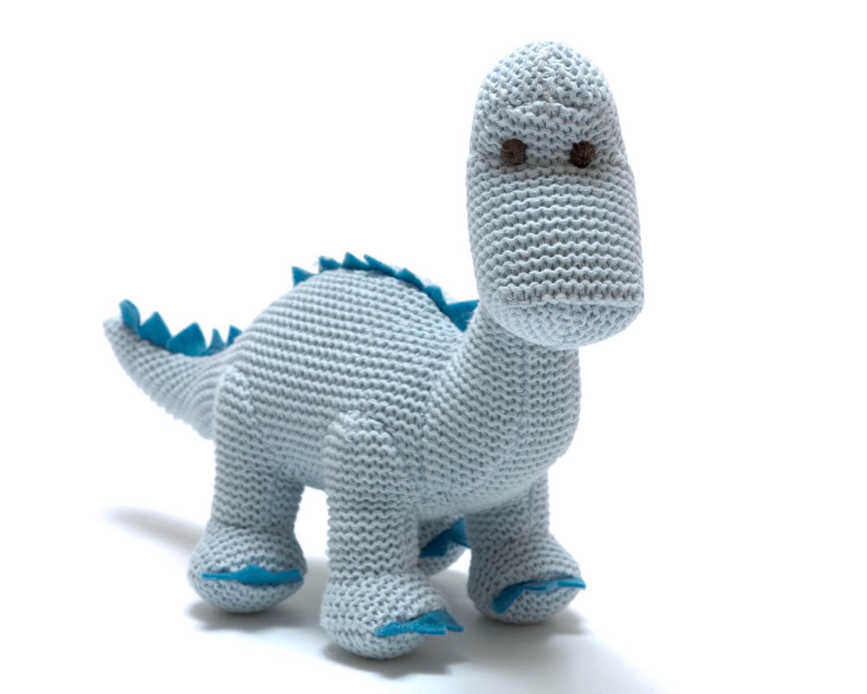 Blue diplodocus dinosaur baby rattle