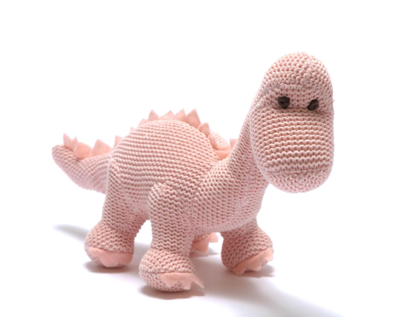 Pink diplodocus dinosaur baby rattle