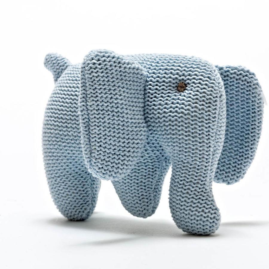 Blue elephant baby rattle