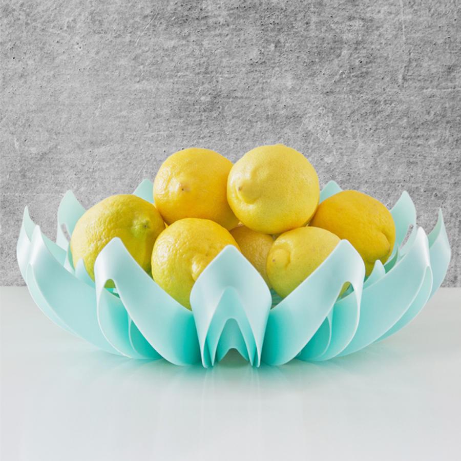 Turquoise petal shape fruit bowl