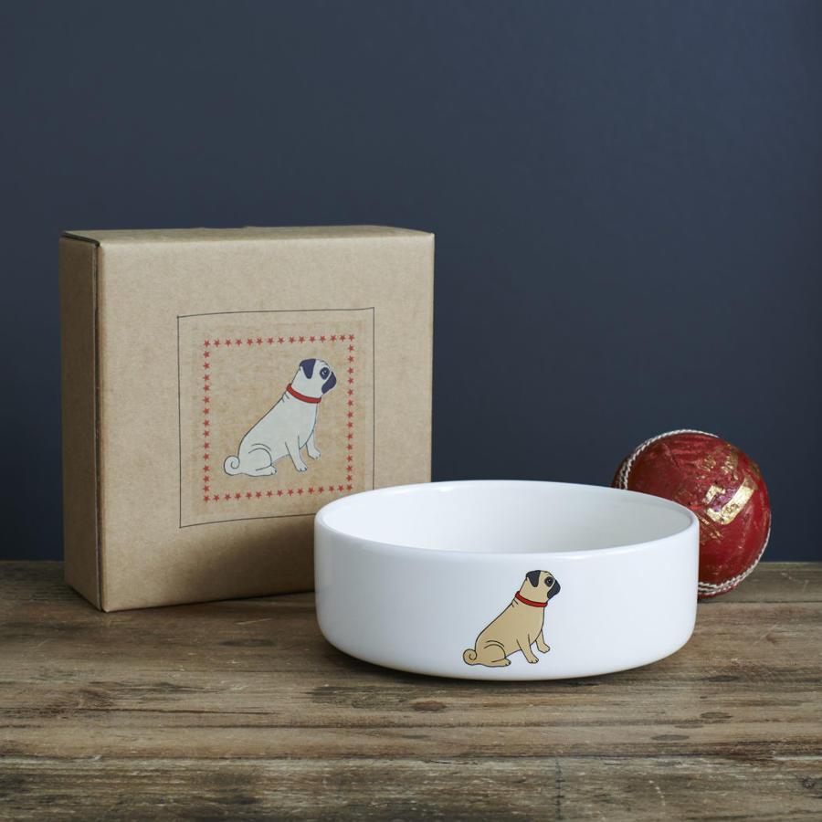 Ceramic dog bowl in gift box - Pug