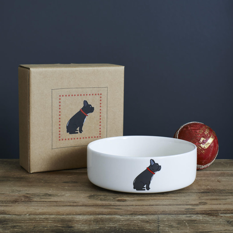 Ceramic dog bowl in gift box - French Bulldog