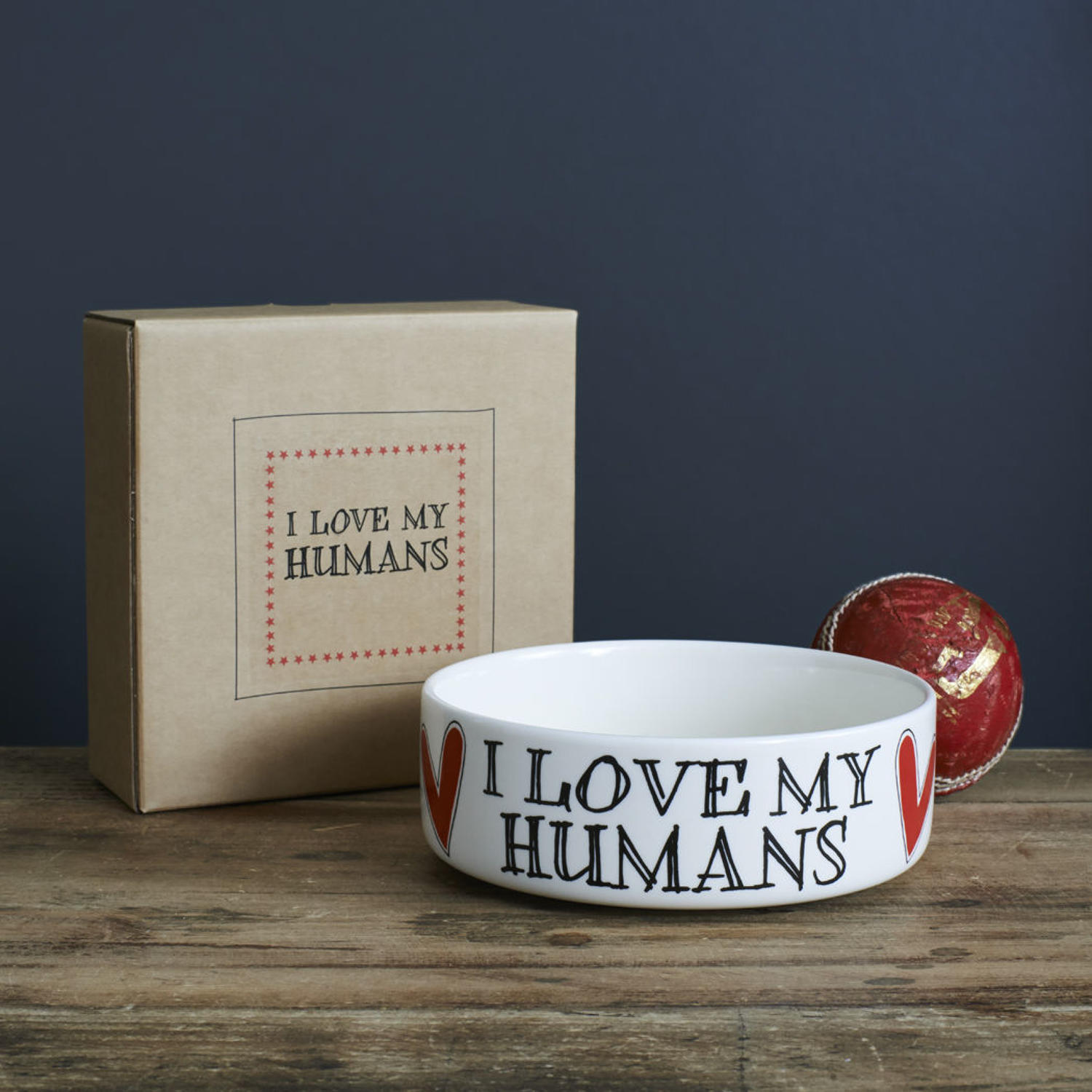 Small ceramic dog or cat bowl featuring - I Love My Humans