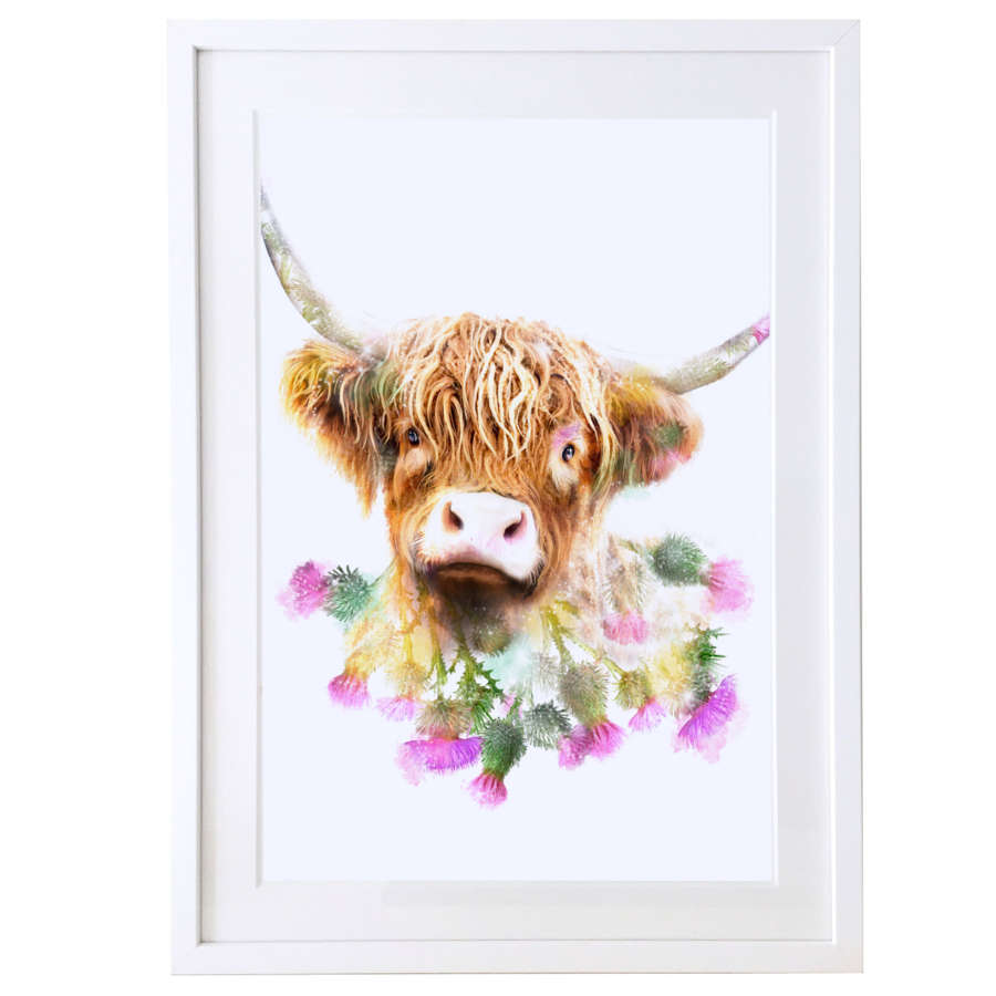 Highland cow print with white satin finish solid wood frame
