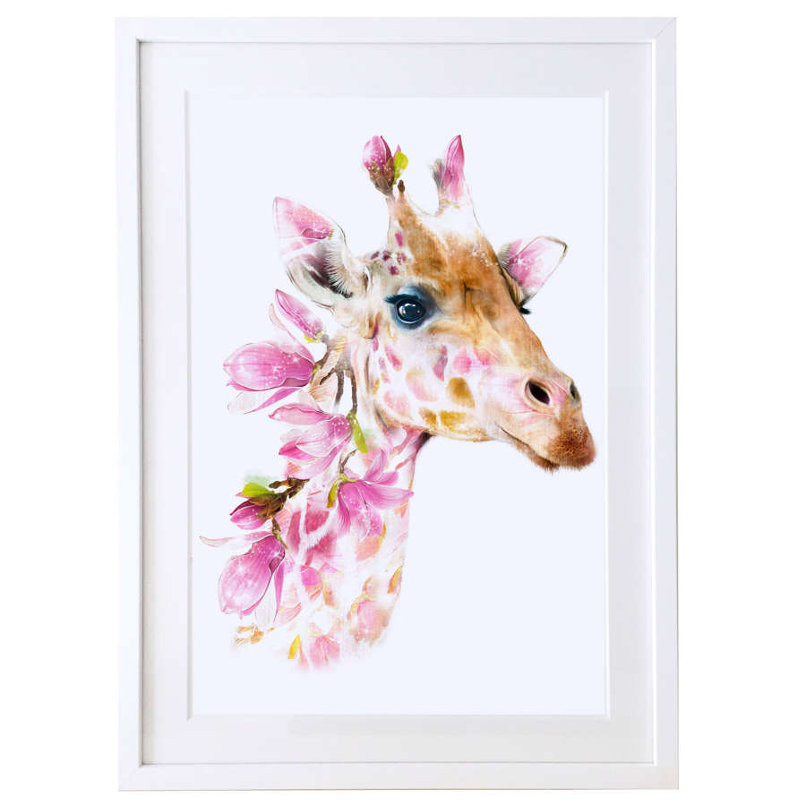 Giraffe print with white satin finish solid wood frame