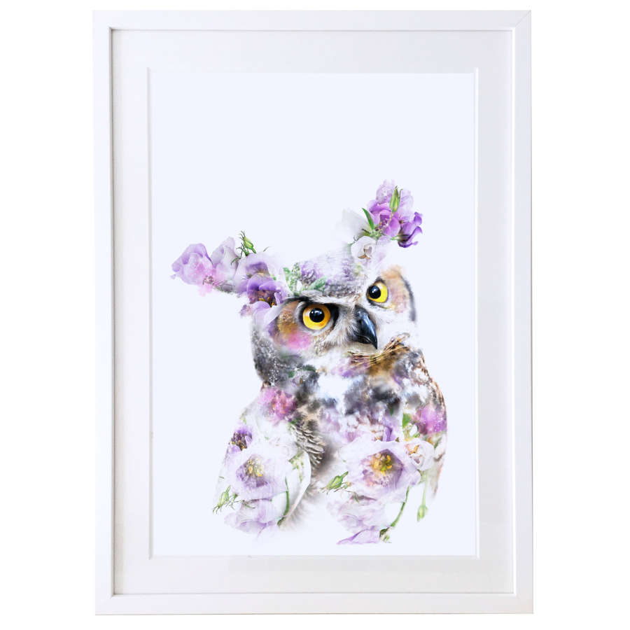 Great horned owl print with white satin finish solid wood frame