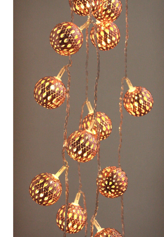 Large copper maroq metal LED light string - battery powered