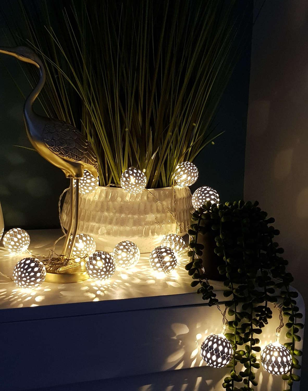 Large white maroq metal LED light string - battery powered