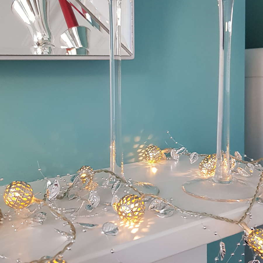 Orientale silver string lights - dual power supply
