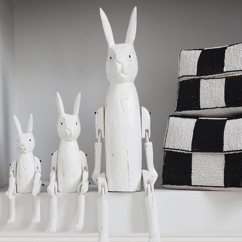 Large white wooden rabbit