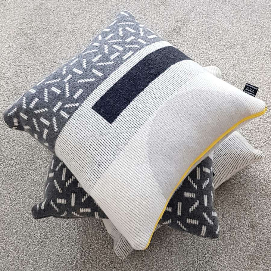 Lambswool cushion - grey and white design
