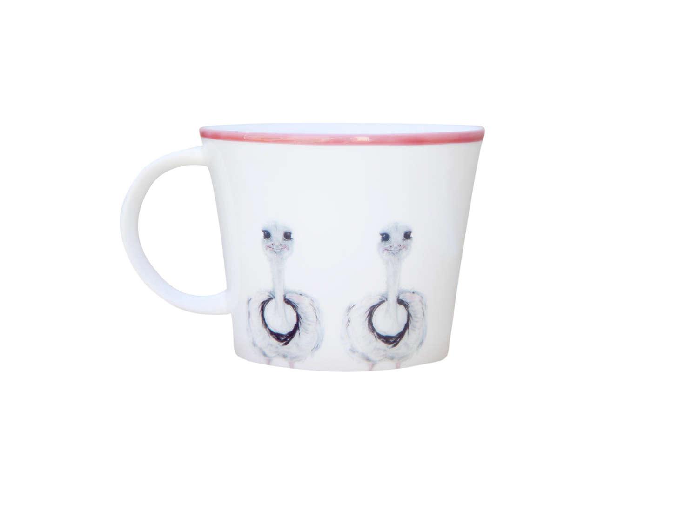 White bone china mug with ostrich design - Emily Smith