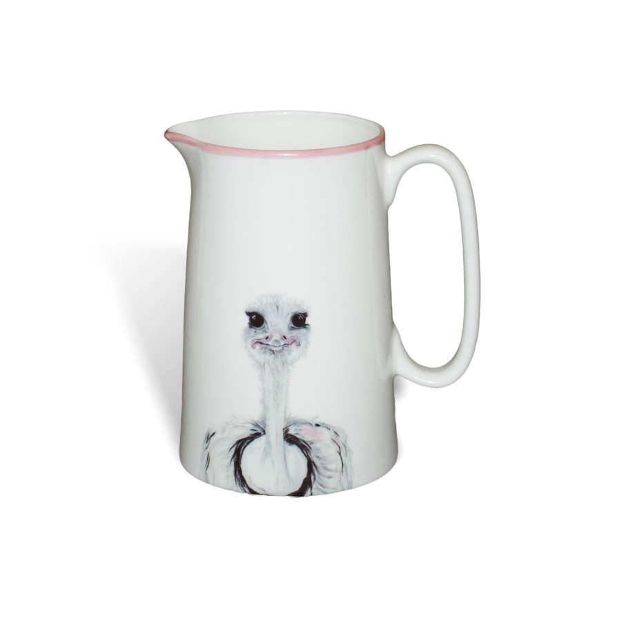 1 pint white bone china jug with ostrich print - Emily Smith