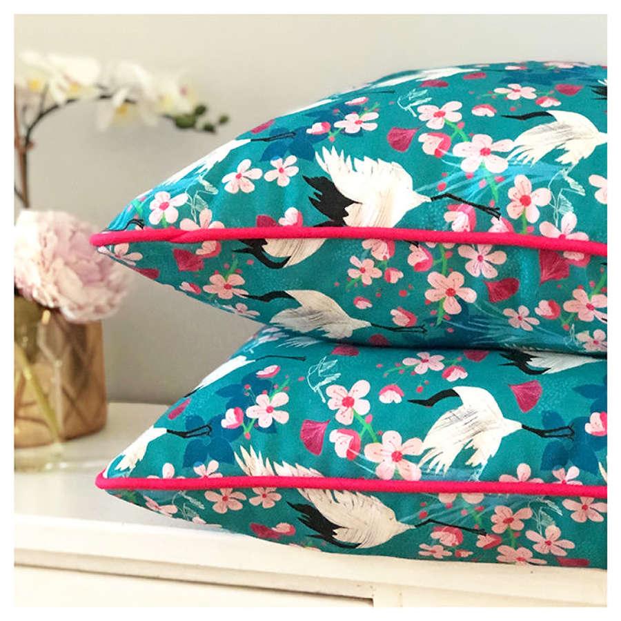 Amanda West crane and blossom cotton cushion