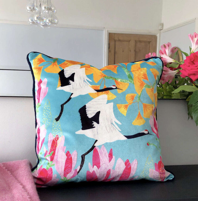 Amanda West red crowned crane velvet cushion