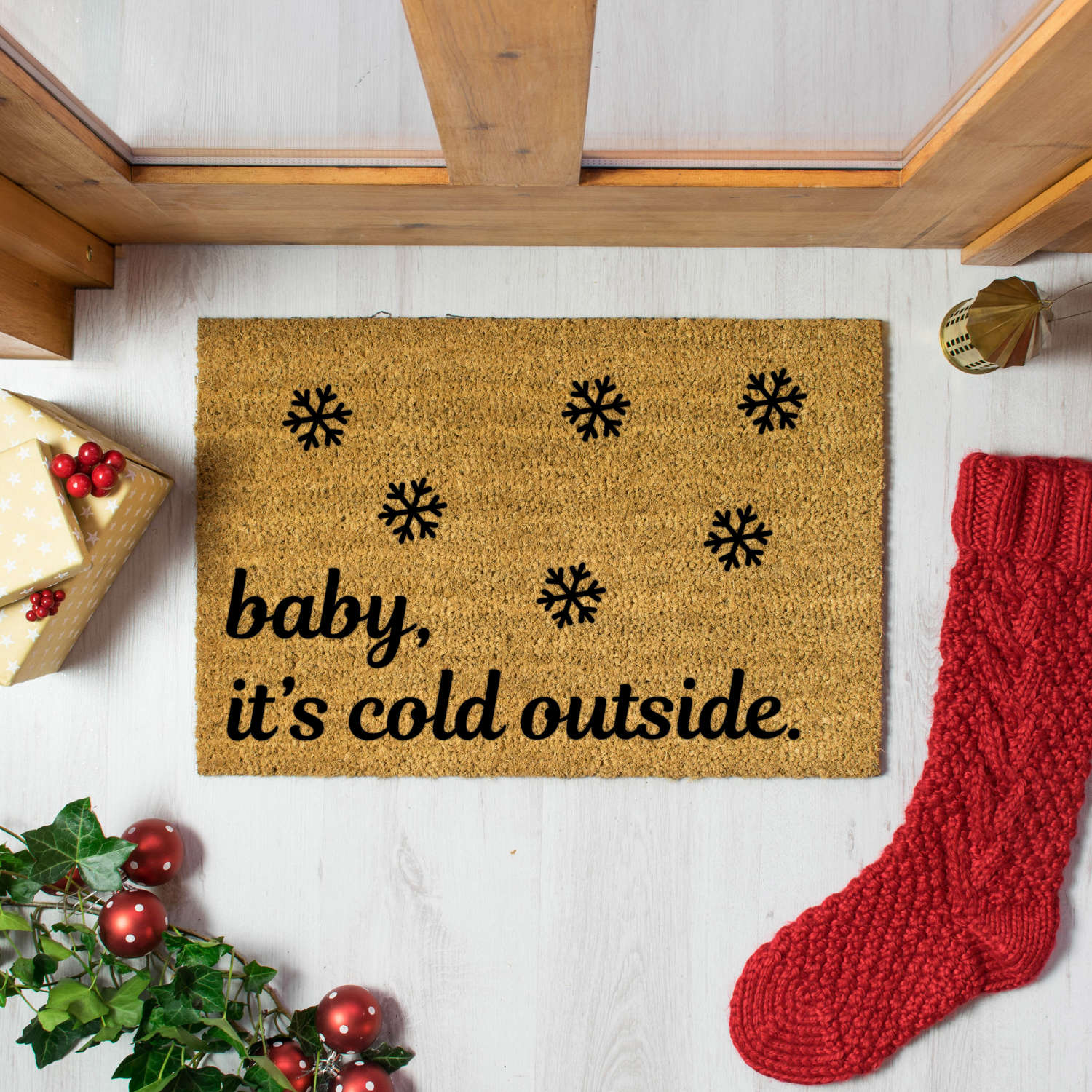 Baby it's cold outside Christmas design doormat