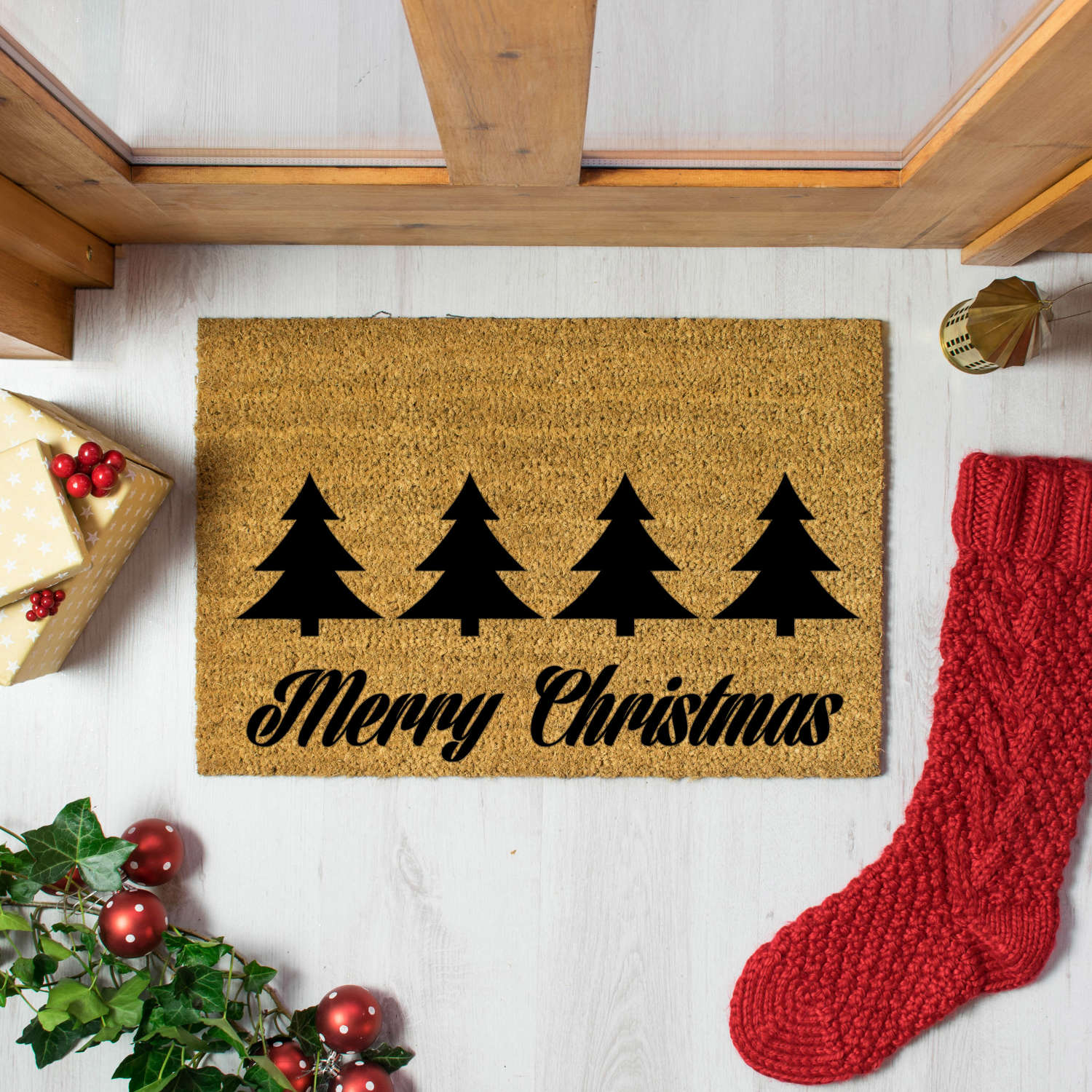 Merry Christmas with pine trees doormat