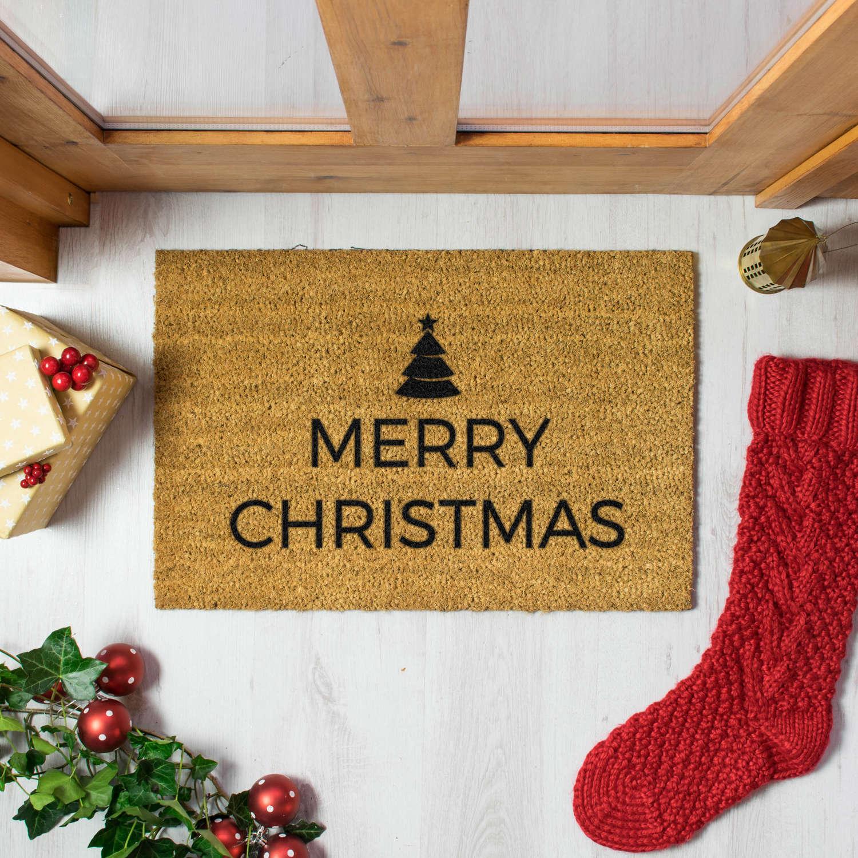 Merry Christmas with pine tree doormat