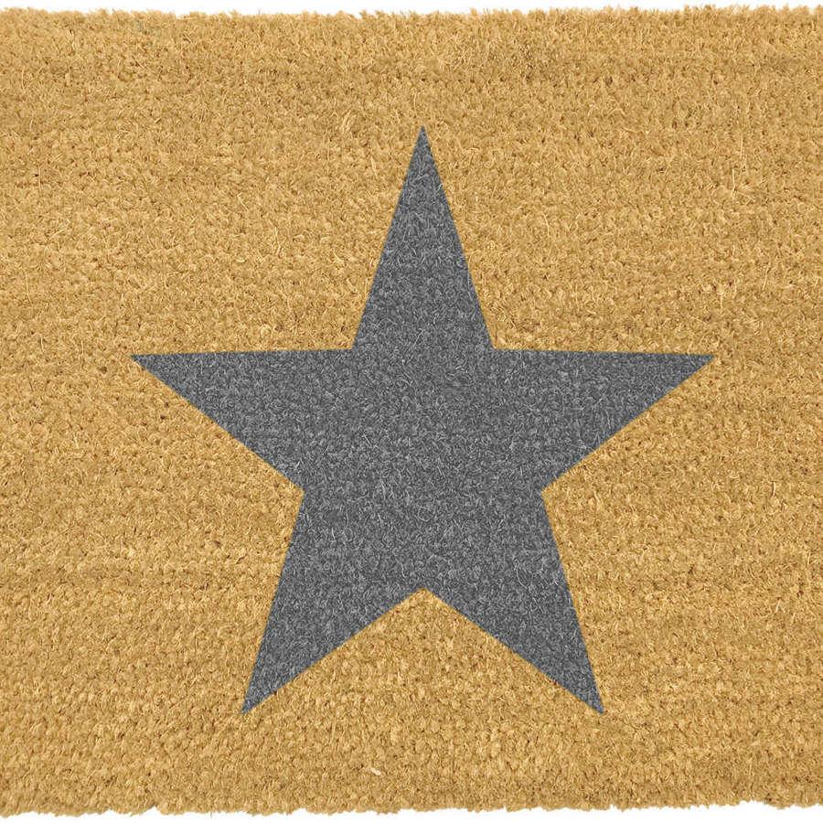 Grey star design rural house larger size doormat