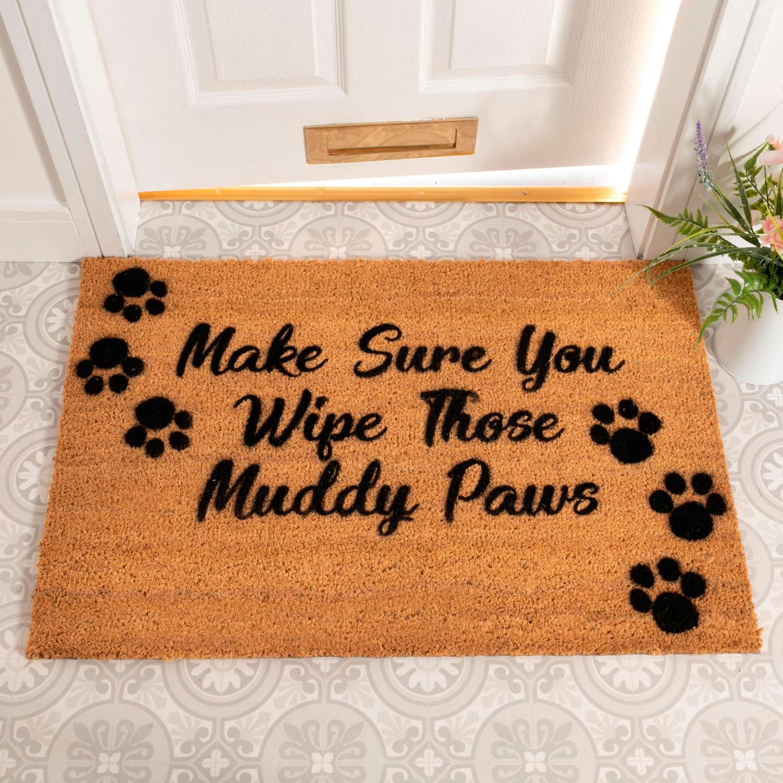 Make sure you wipe those muddy paws design rural house larger doormat