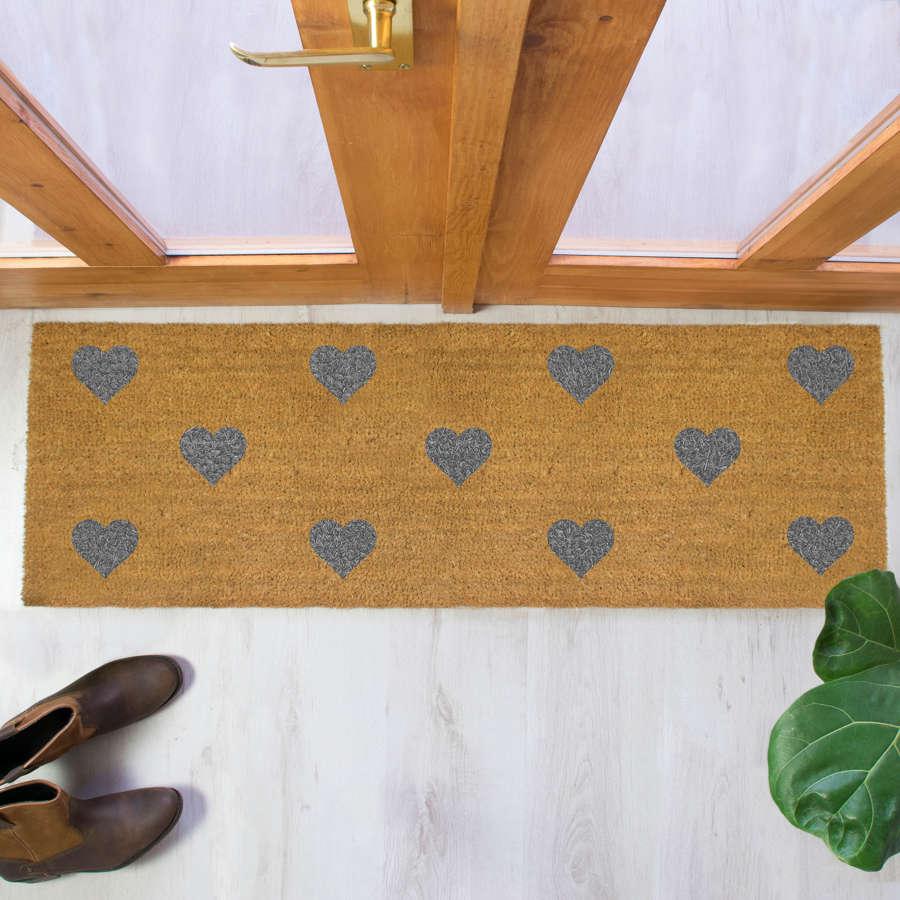 Grey hearts design double size long patio doormat