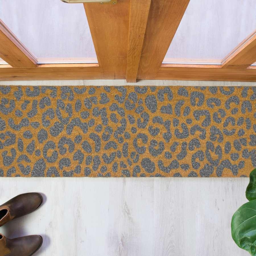 Grey leopard print design double size long patio doormat