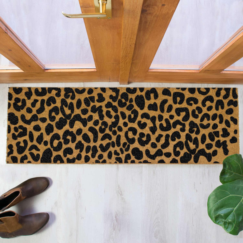 Black leopard print design double size long patio doormat