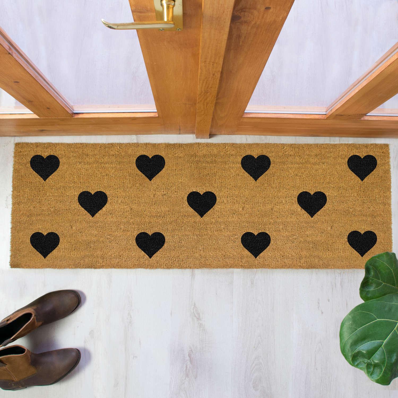 Black hearts design double size long patio doormat