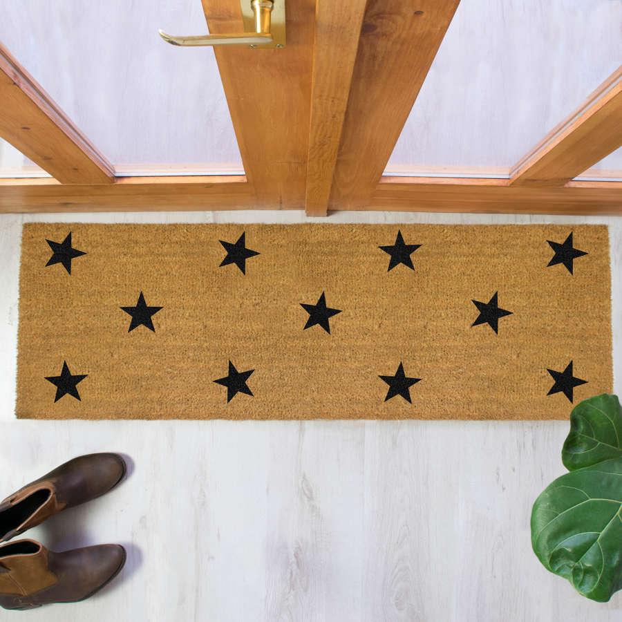 Black stars design double size long patio doormat
