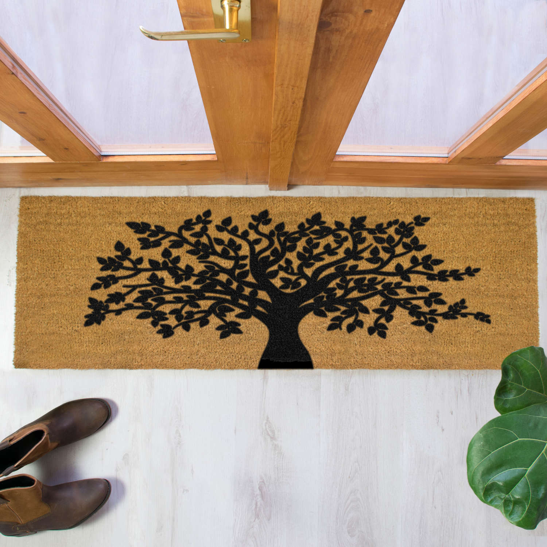 Black tree of life design double size long patio doormat