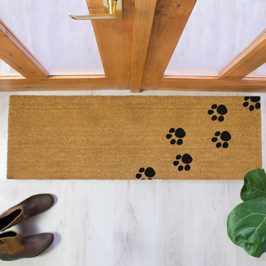 Black paw print design double size long patio doormat