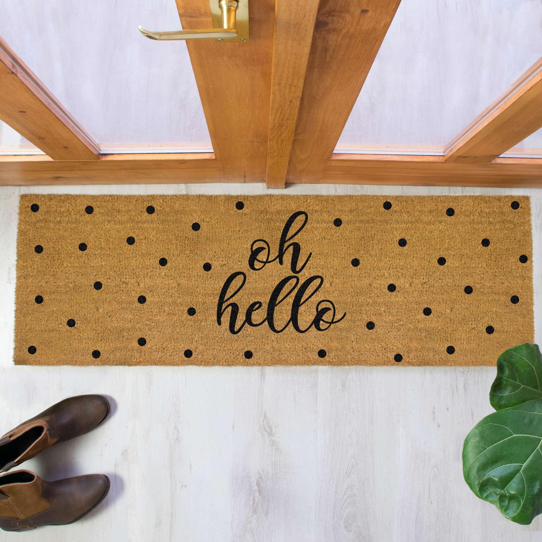 Black oh hello design double size long patio doormat