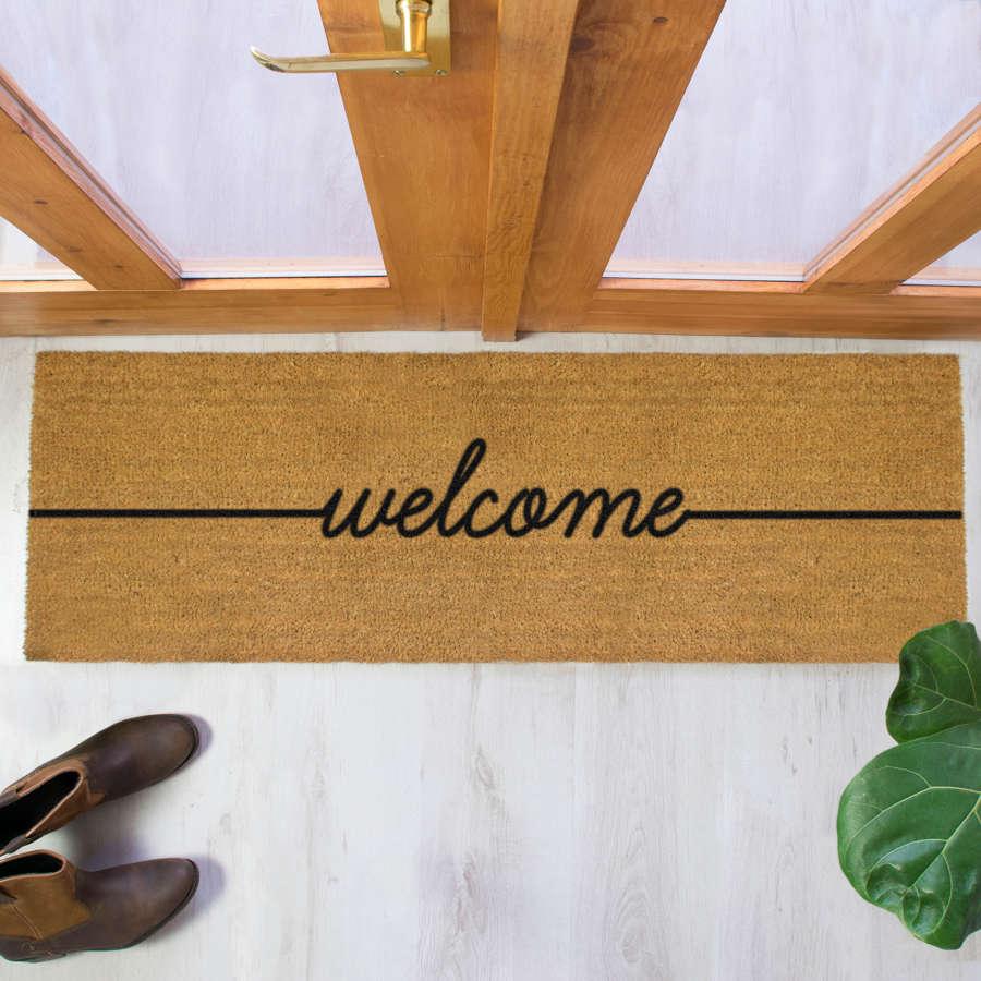 Black welcome design double size long patio doormat