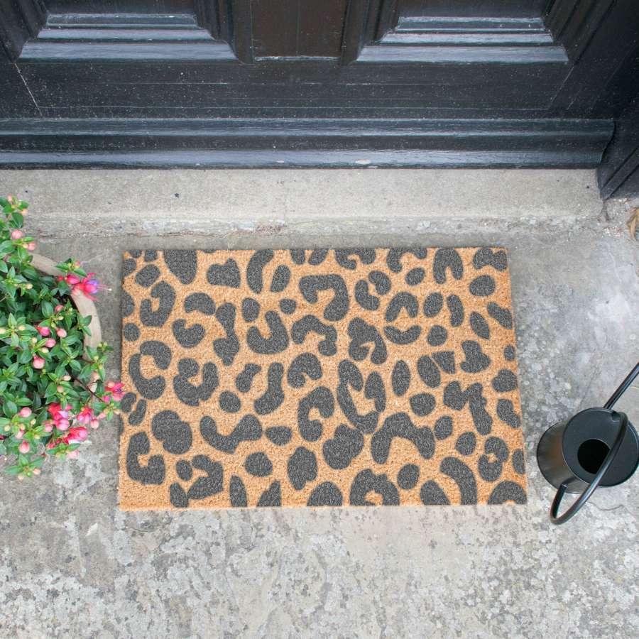 Grey leopard print design standard size doormat