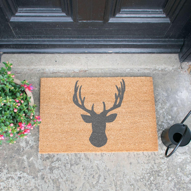 Grey stag head design standard size doormat