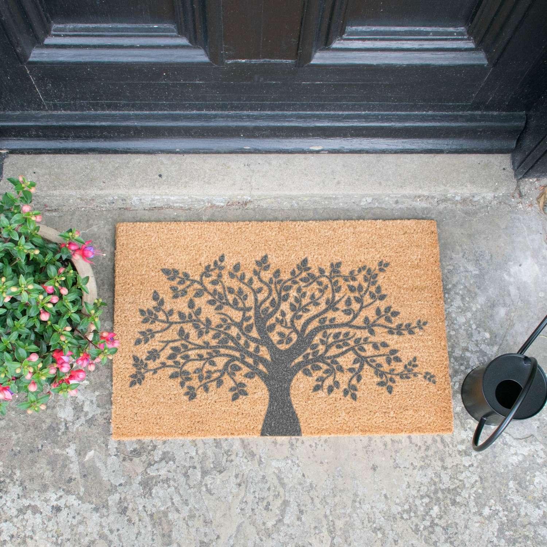 Grey tree of life design standard size doormat