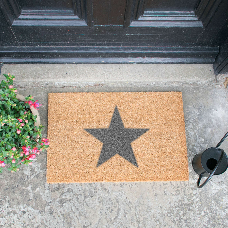 Grey star design standard size doormat
