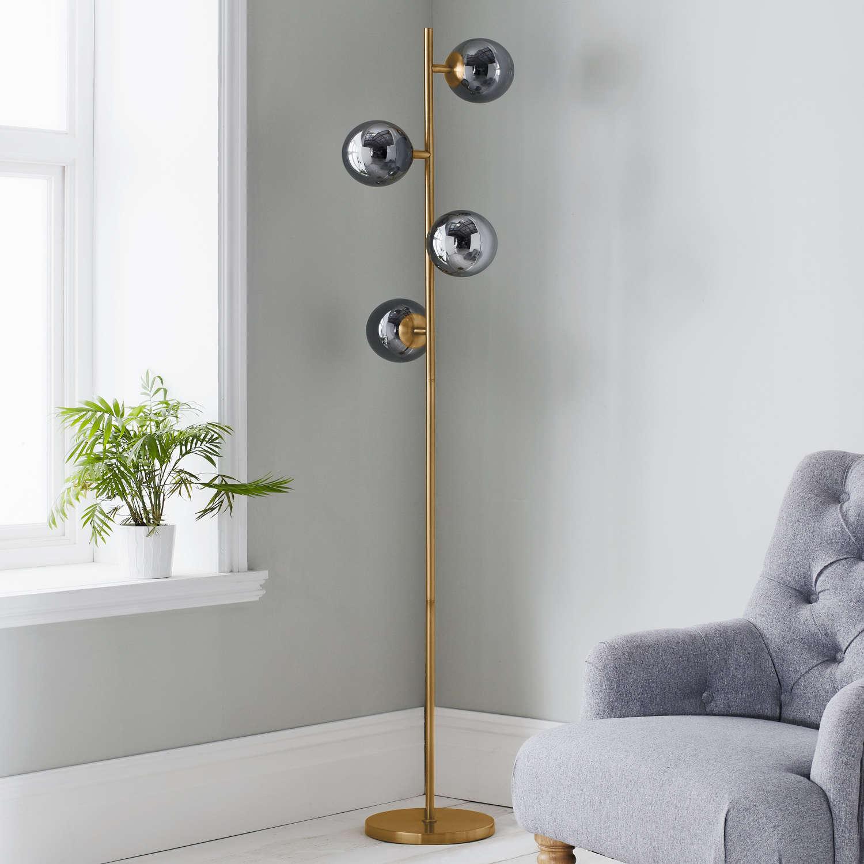 Grey glass globe art deco style gold floor lamp