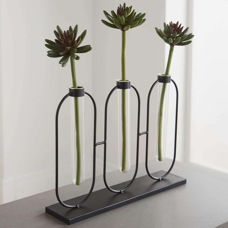 3 glass test tube bud vases on black metal stand