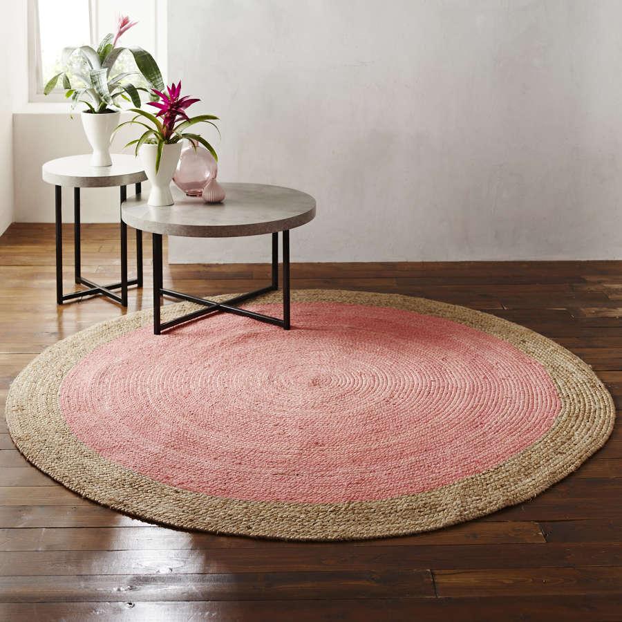 Round jute rug - pink and natural - 200cm diameter