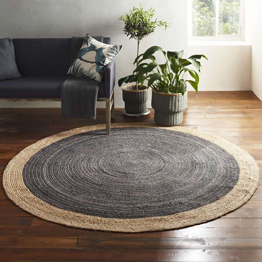 Round jute rug - light grey and natural - 200cm diameter