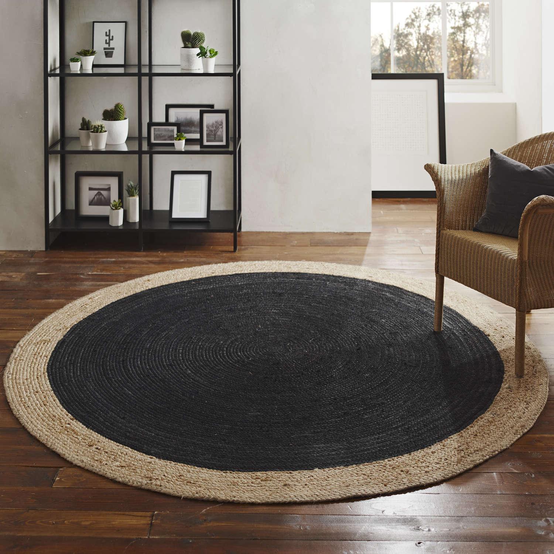 Round jute rug - charcoal and natural - 200cm diameter